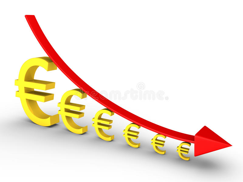 Graph Falling And Euros Getting Smaller Royalty Free Stock Photo