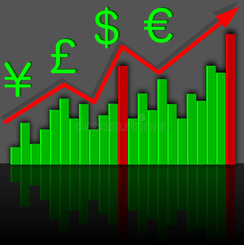 Graph The Growth Of Financial Income. Vector. Stock Photos