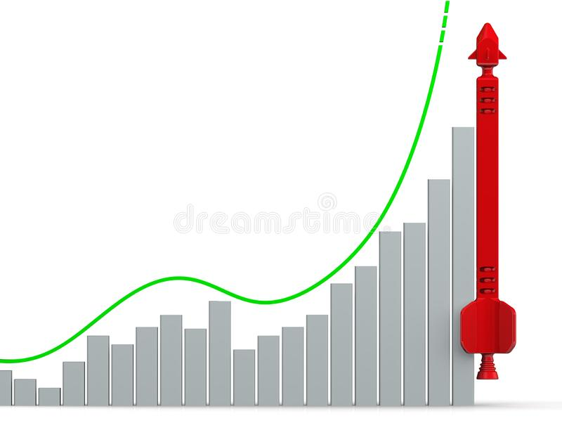 Graph of growth with red rocket. Graph of rapid growth with conceptual red rocket. Financial concept. Isolated. 3D Illustration stock illustration