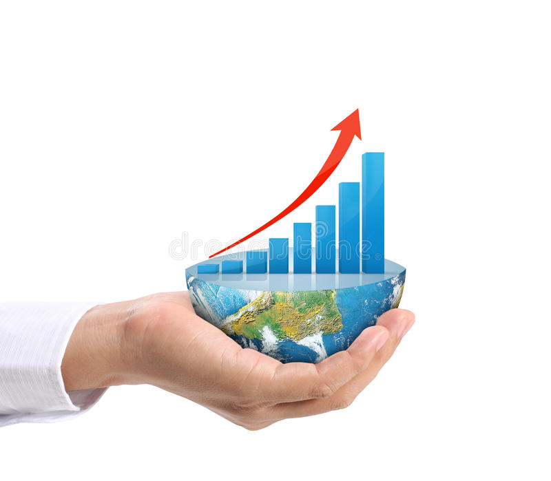 Graph on hand, local businessmen. Some components of this image are provided courtesy of NASA stock image