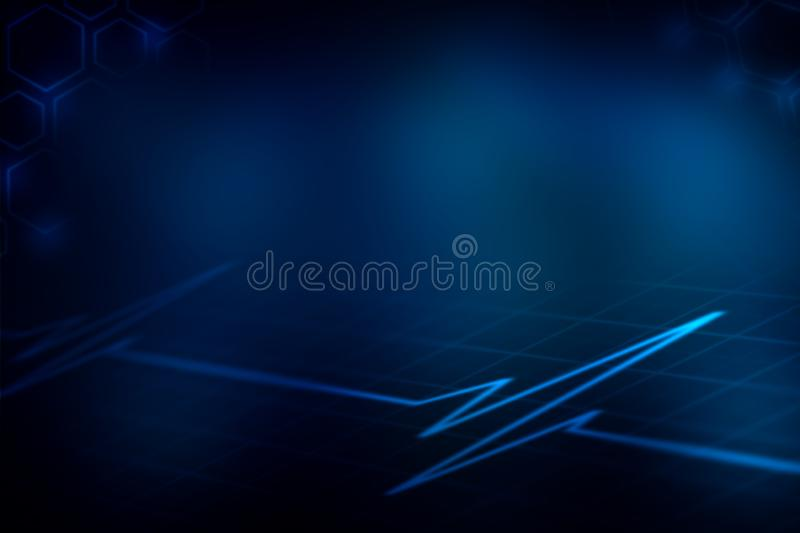 Graph and health on blue abstract background stock illustration