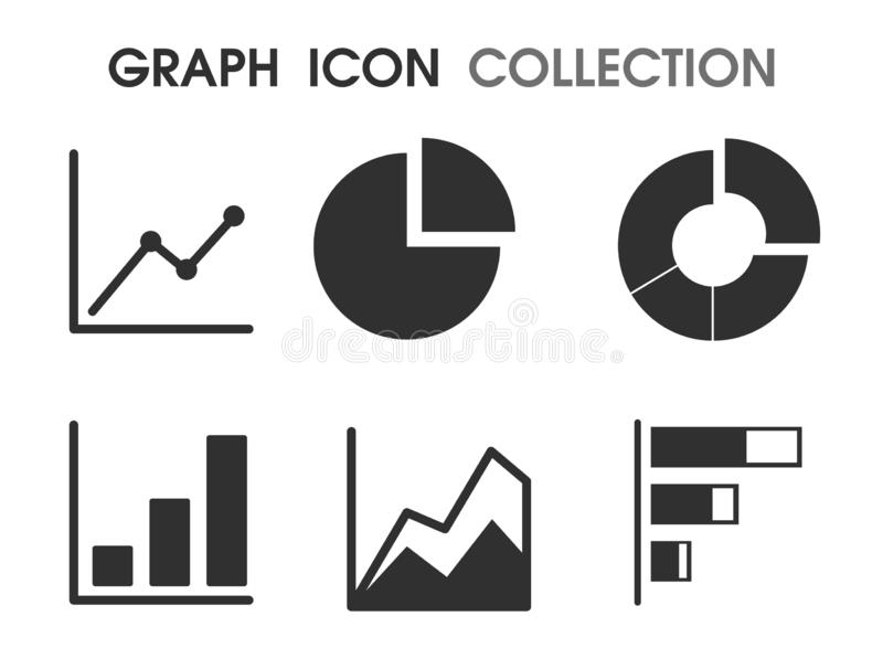 Graph icons in various ways That looks simple and modern.  stock illustration