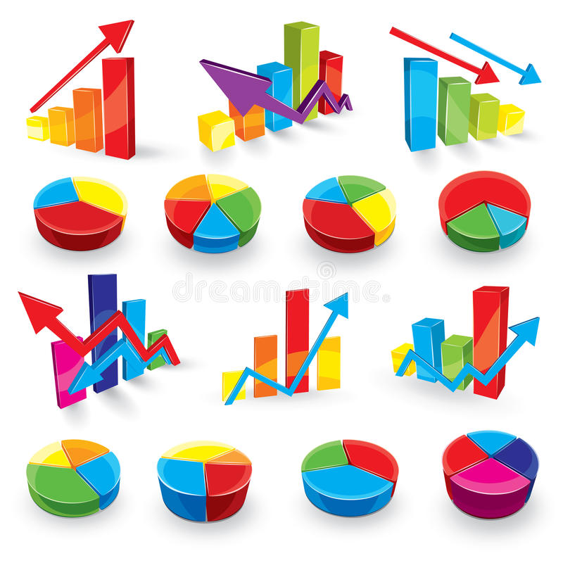Graph illustration set vector illustration