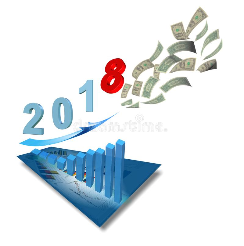 2018 graph income growth fly. 3d rendering royalty free stock photo