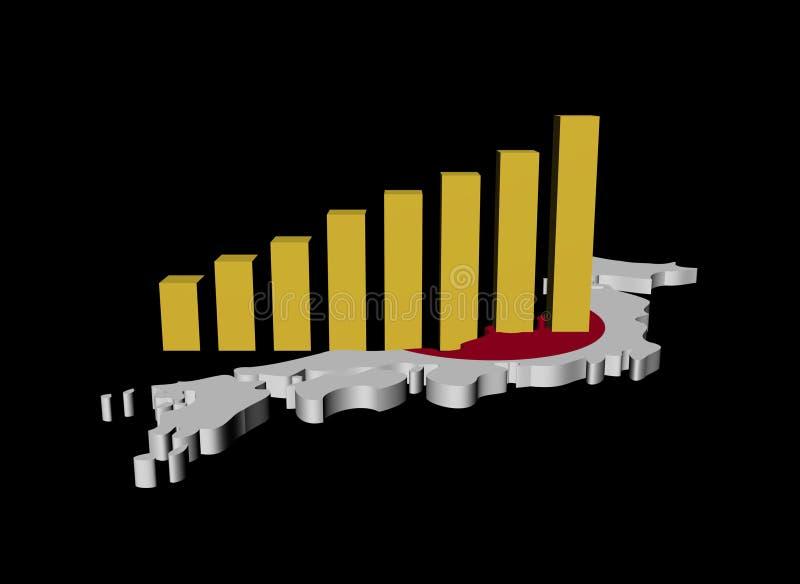 Download Graph on Japan map flag stock illustration. Illustration of economic - 18327309