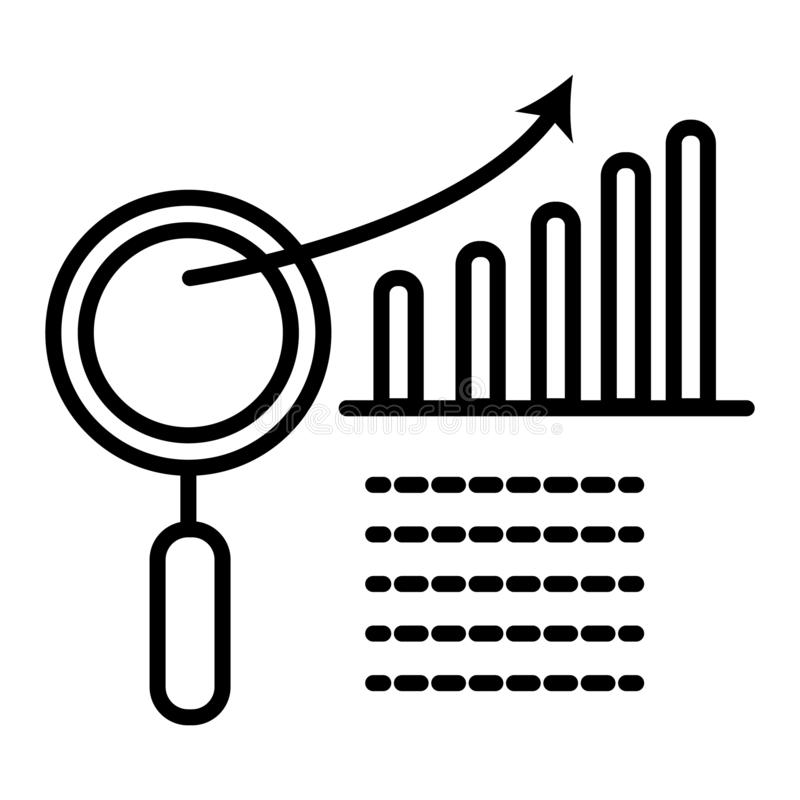 Graph with magnifier. Vector icon vector illustration