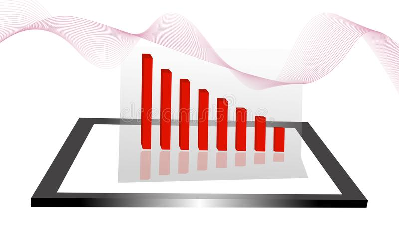 The graph mark decreases. Red financial icon reduced Stocks fall on a white background And abstract images, illustrations - vector vector illustration