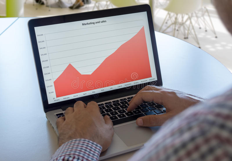 Graph with marketing and sales stock image