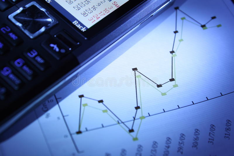 Graph and Mobile Phone stock photos