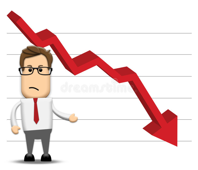 Graph negatively decreasing vector illustration