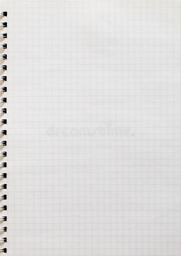 Graph paper. Spiral notepad book graph paper stock photo