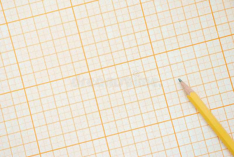 Graph Paper. With pencil, top view royalty free stock images