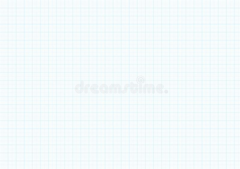 Graph paper background with vector blue plotting millimeter ruler line guide grid texture for engineering or mechanical drawing. Layout. Checkered A4 notebook royalty free illustration
