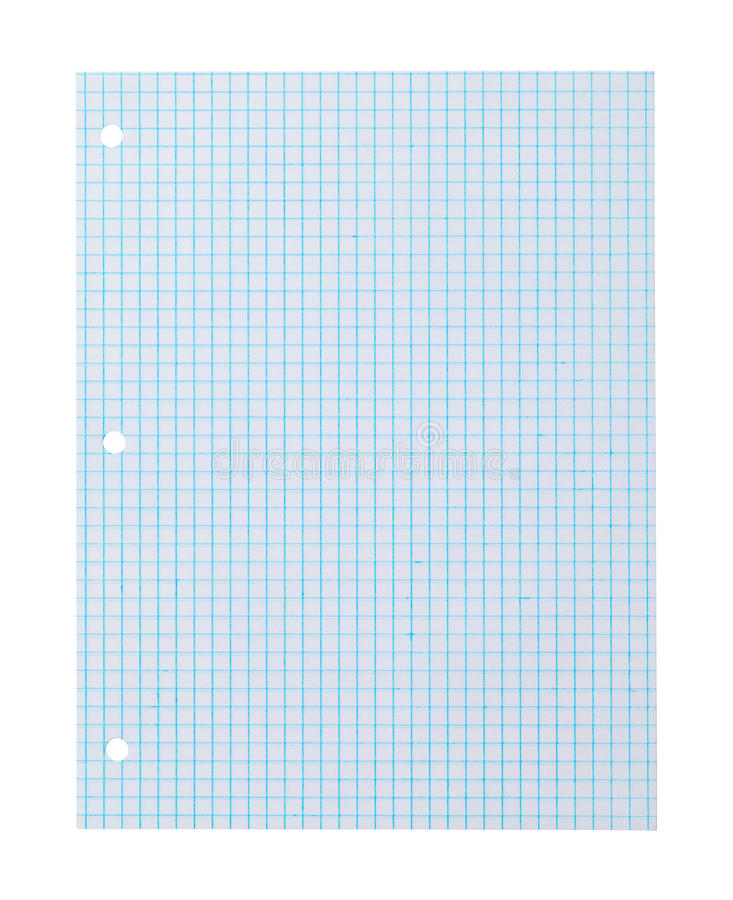 Graph Paper Blue. Blue Graph Paper Isolated on White Background stock photography