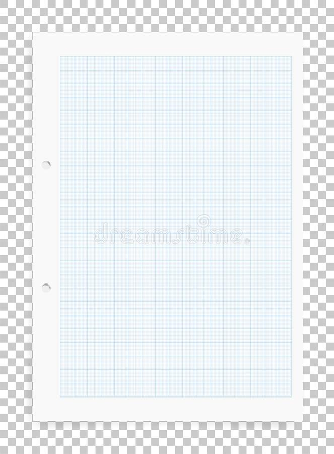 Graph paper sheet with blue pattern on transparent background. royalty free illustration