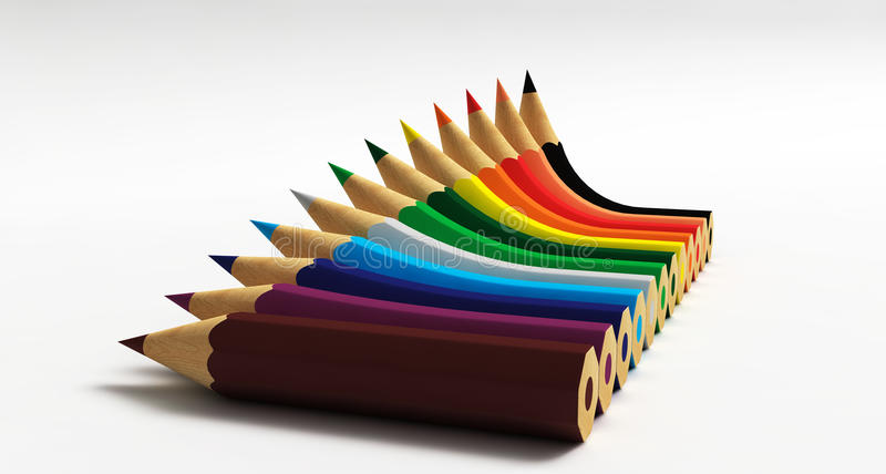 Graph with Pencils. Graph with distorted coloured pencils stock illustration