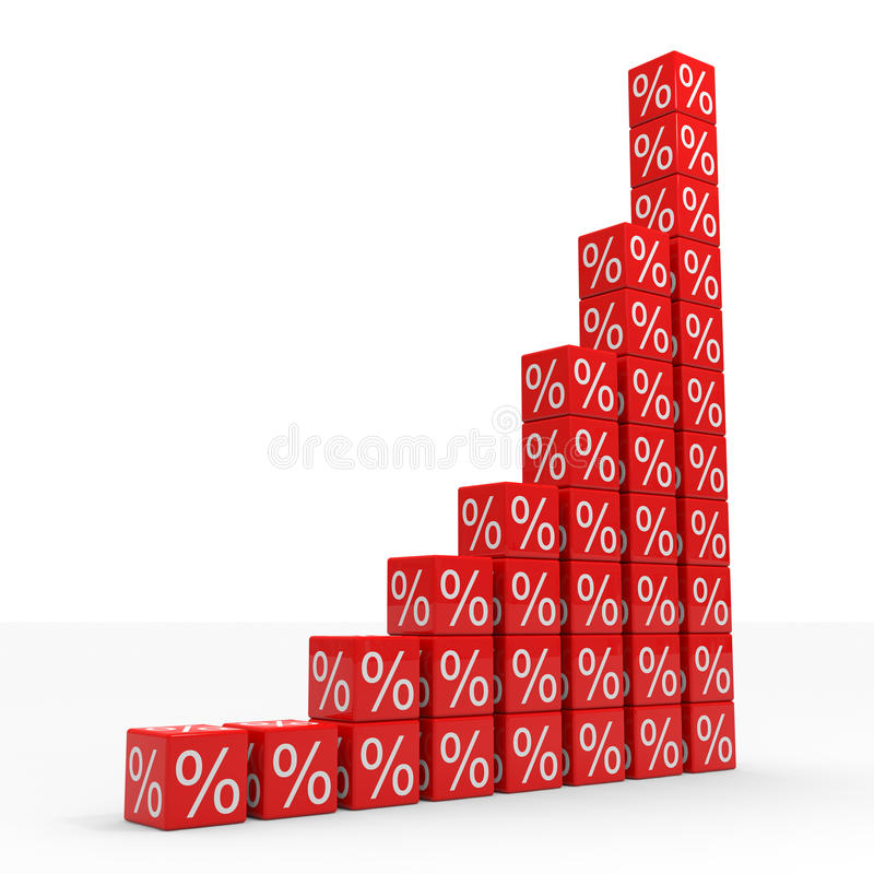 Download Graph From Red Cubes With Percents Stock Illustration - Image: 20980565