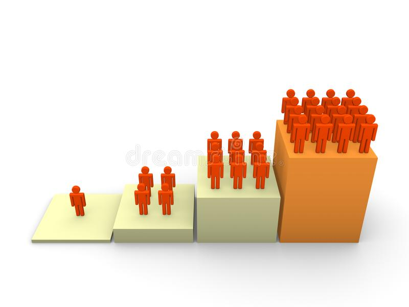 Graph with rising number of people royalty free stock photo