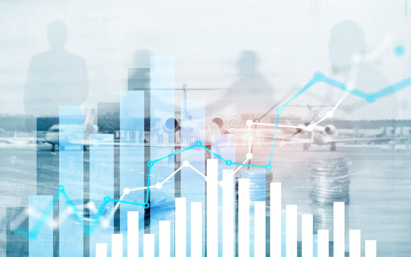 Graph on rows of coins for banking, finance on digital stock market financial exchange and trading graph.  stock photos