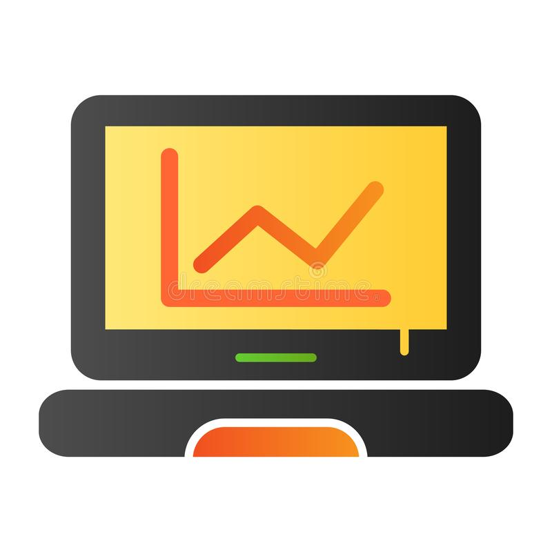 Graph on screen flat icon. Chart on laptop color icons in trendy flat style. Computer diagram gradient style design royalty free illustration