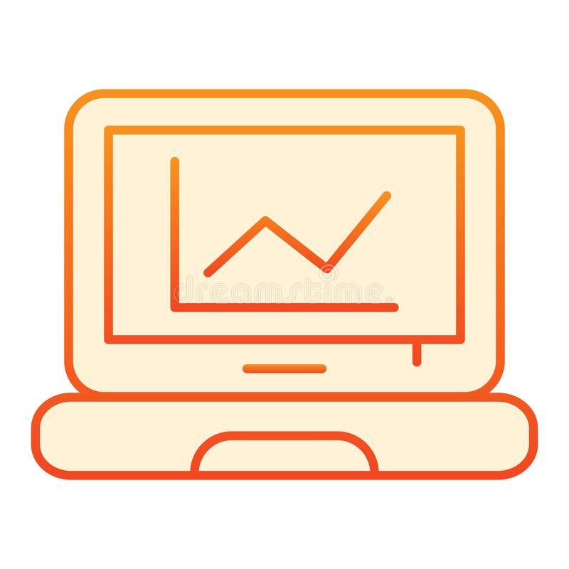 Graph on screen flat icon. Chart on laptop orange icons in trendy flat style. Computer diagram gradient style design stock illustration