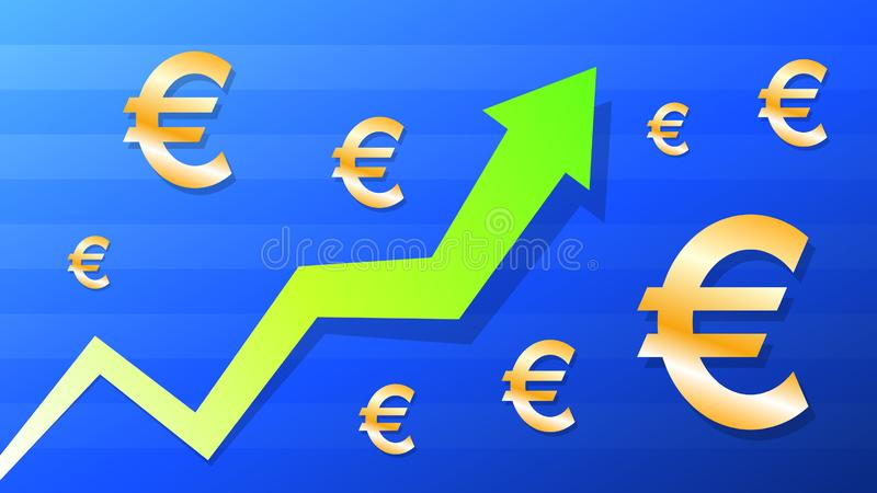 Graph show value grow of euro, green arrow and gold euro symbol stock illustration
