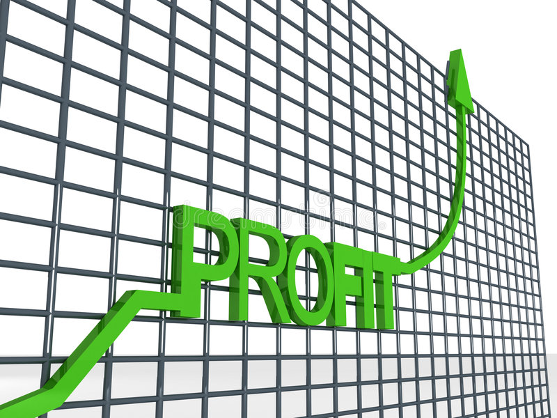 Graph showing profit. Side view of three dimensional profit graph stock illustration