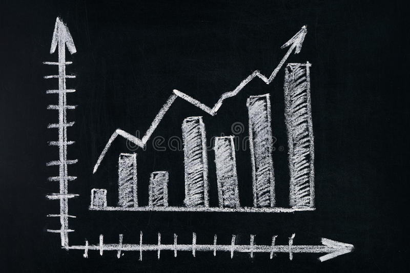 Graph showing rise in profits or earnings royalty free stock photo