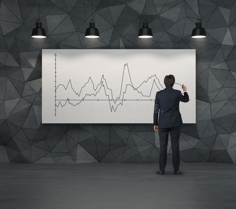 Graph of stock on poster. Businessman drawing graph of stock on poster royalty free stock photos