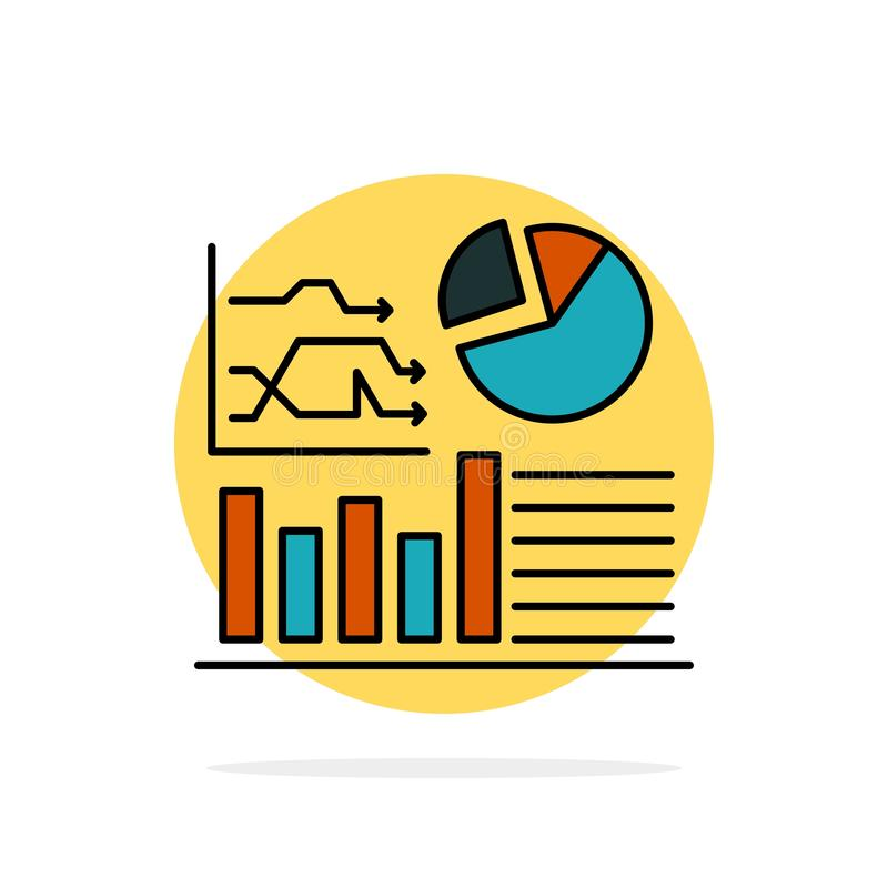 Graph, Success, Flowchart, Business Abstract Circle Background Flat color Icon stock illustration