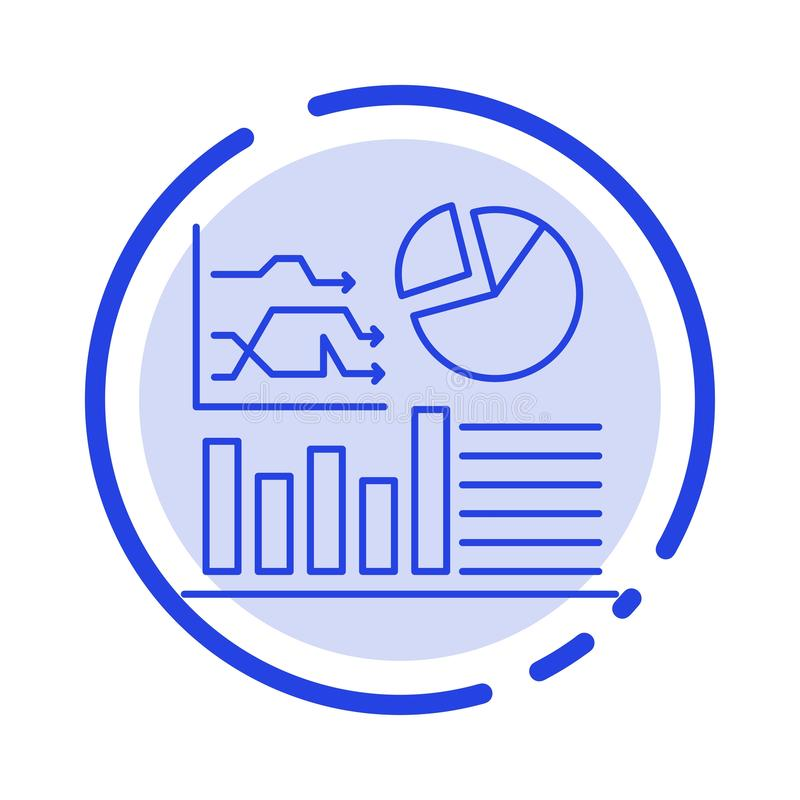 Graph, Success, Flowchart, Business Blue Dotted Line Line Icon vector illustration