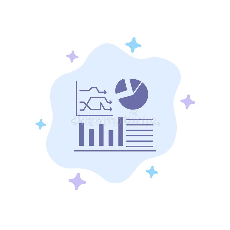 Graph, Success, Flowchart, Business Blue Icon on Abstract Cloud Background vector illustration