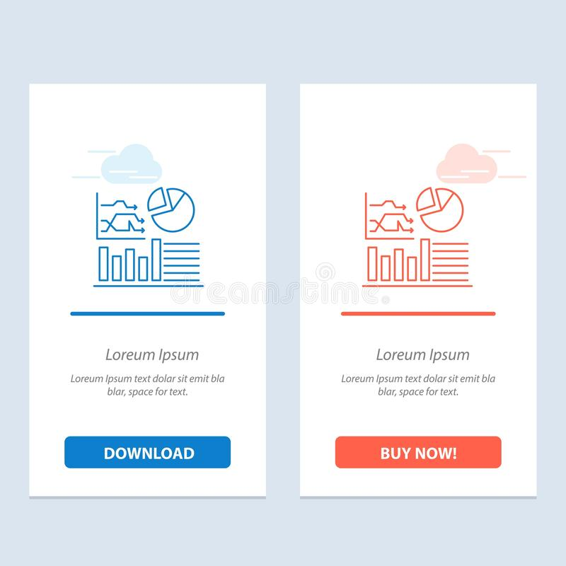 Graph, Success, Flowchart, Business  Blue and Red Download and Buy Now web Widget Card Template royalty free illustration