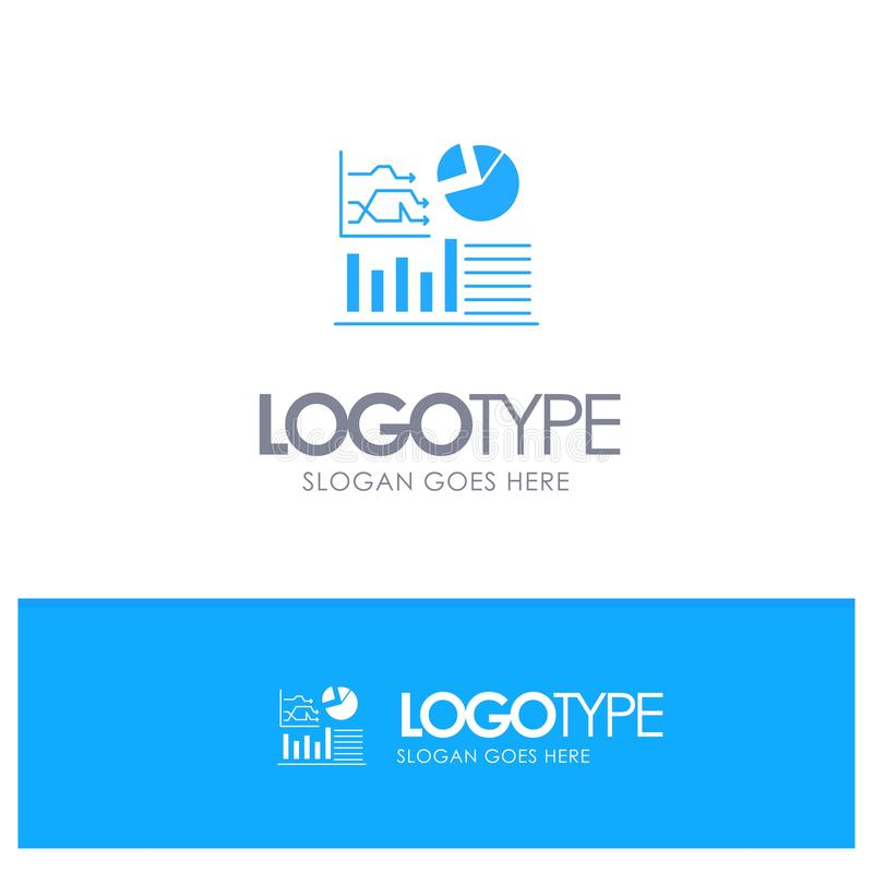 Graph, Success, Flowchart, Business Blue Solid Logo with place for tagline stock illustration