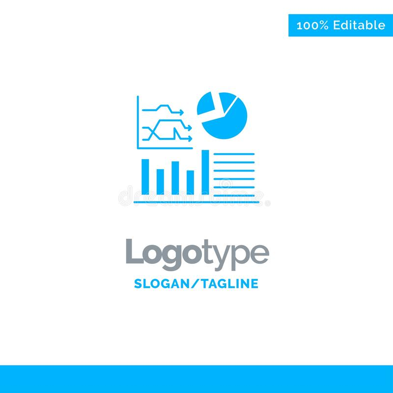 Graph, Success, Flowchart, Business Blue Solid Logo Template. Place for Tagline vector illustration