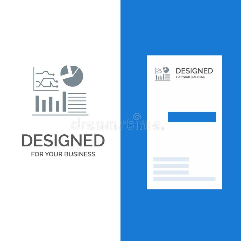 Graph, Success, Flowchart, Business Grey Logo Design and Business Card Template royalty free illustration