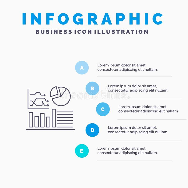 Graph, Success, Flowchart, Business Line icon with 5 steps presentation infographics Background royalty free illustration