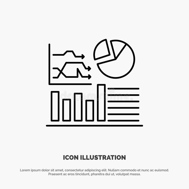 Graph, Success, Flowchart, Business Line Icon Vector royalty free illustration