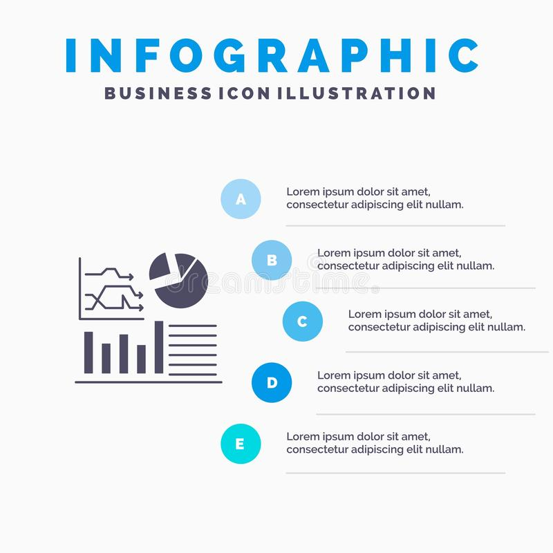 Graph, Success, Flowchart, Business Solid Icon Infographics 5 Steps Presentation Background stock illustration