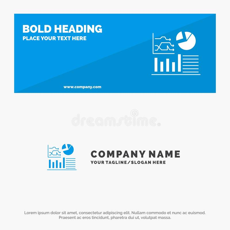 Graph, Success, Flowchart, Business SOlid Icon Website Banner and Business Logo Template stock illustration