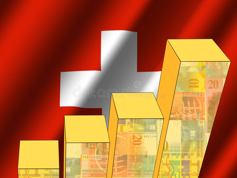 Graph with swiss flag stock illustration