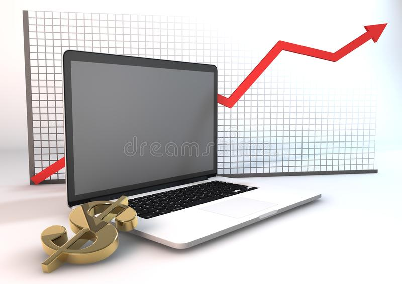 Graph(up) Of Business On Technology Royalty Free Stock Images