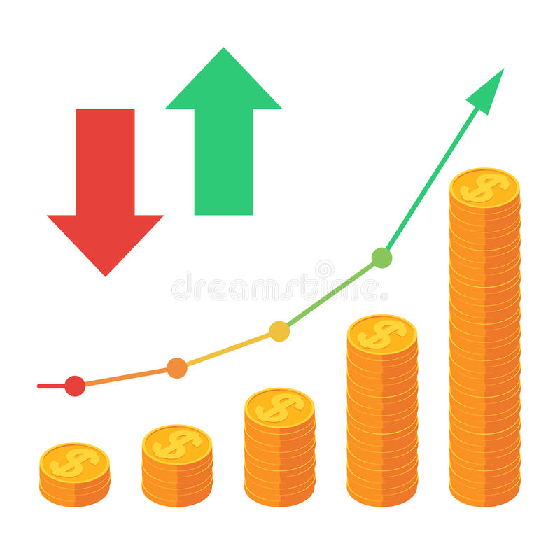 Graph up and coins vector illustration