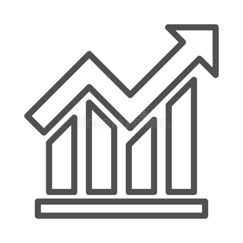 Graph Vector Line icon isolated Graphic .Style in EPS 10 simple Line Icon element business & office concept. editable vector. royalty free illustration