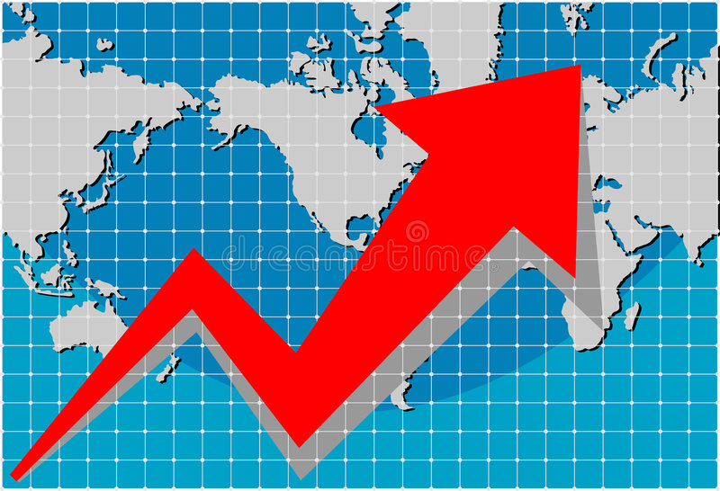 Graph with world map vector illustration