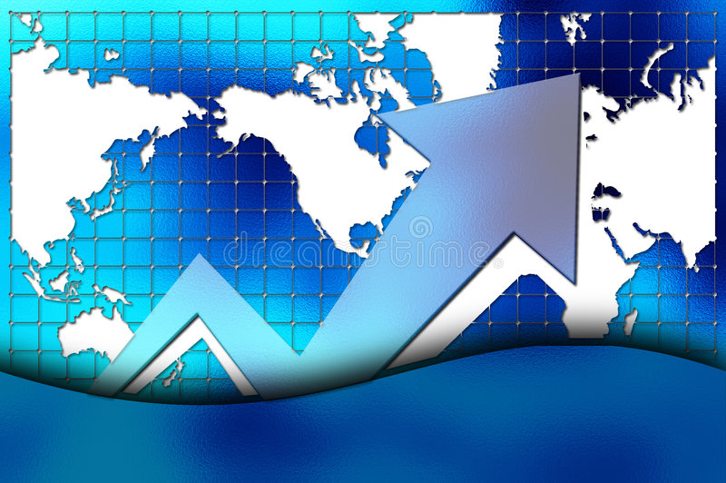 Graph with world map stock illustration