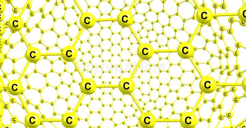 Graphene-als moleculaire die structuur op witte achtergrond wordt geïsoleerd vector illustratie