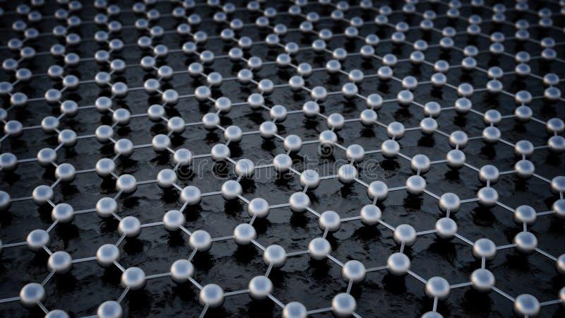 Graphene atom- struktur royaltyfri illustrationer