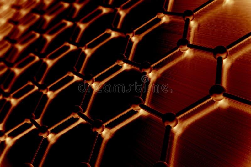 Graphene atom- struktur, nanoteknikbakgrund illustration 3d vektor illustrationer