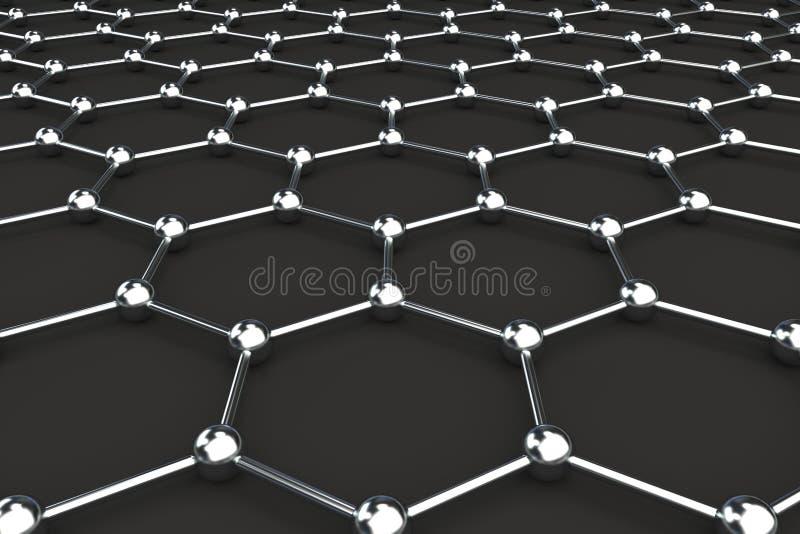 Graphene atom- struktur på svart bakgrund vektor illustrationer